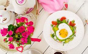 Picture love, heart, roses, Breakfast, love, scrambled eggs, vegetables, heart, pink, flowers, romantic, eggs, breakfast, roses