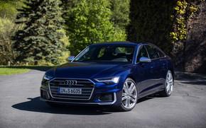 Picture Audi, sedan, dark blue, Audi A6, four-door, 2019, Audi S6
