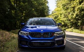 Picture BMW, Front, Face, Forest, Sight, F90, Deep Blue