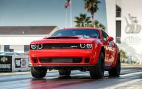Picture Red, SRT, Demon, Drag Racing, Dodge Challenge