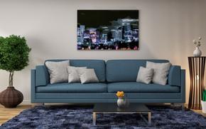 Picture flower, design, sofa, interior, picture, pillow, modern