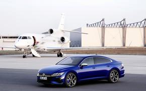 Picture blue, Volkswagen, liftback, 2020, Arteon, Arteon R, the plane