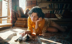 Picture cat, girl, light, pose, house, room, books, window, on the floor, stroking, Andrew Vasiliev, Andrey …