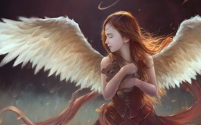 Picture girl, wings, angel, hug