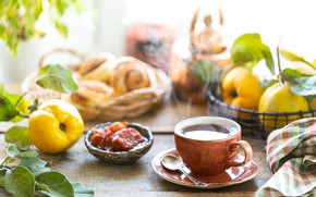 Picture fruit, jam, quince, buns, spoon, Cup and saucer, Chai