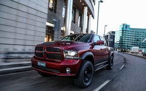 Picture the city, street, Dodge, pickup, Ram, 2017, 1500 RX Crew Cab, Militem