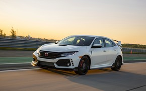 Picture white, the sky, speed, Honda, hatchback, the five-door, 2019, Civic Type R, 5th gen, FK8