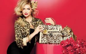 Wallpaper girl, decoration, smile, style, leopard, bag, jacket, Kate Upton