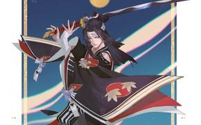Picture sword, katana, samurai, guy, Onmyouji, Onmyouji (NetEase), Onikiri, Pixiv Id 8069491