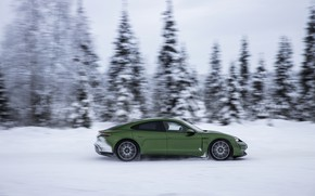 Picture snow, movement, Porsche, green, in profile, 2020, Taycan, Taycan 4S