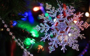 Picture winter, branches, holiday, toys, lights, Christmas, New year, beads, tree, needles, snowflake, bokeh, Christmas decorations, …