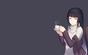 Picture girl, anime, art, couples, Cup