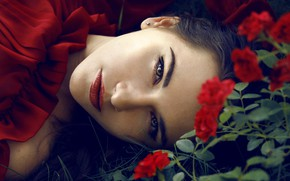 Picture look, flowers, close-up, face, roses, makeup, dress, brunette, hairstyle, lies, beauty, in red, on the …