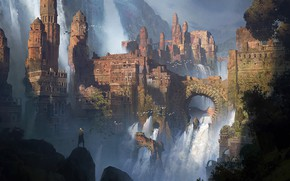 Picture mountains, waterfall, man, fortress, WATERFALLS