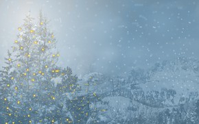 Picture winter, the sky, snow, mountains, snowflakes, nature, lights, fog, rocks, the slopes, tops, ate, Christmas, …