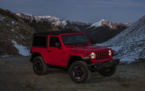 Picture snow, red, tops, 2018, Jeep, pass, Wrangler Rubicon
