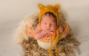 Picture sleep, baby, ears, cap, baby, child, sleep