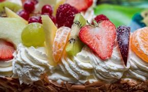 Picture macro, kiwi, strawberry, pie, cake, fruit, cream, tangerines