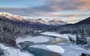 Picture winter, forest, the sky, clouds, snow, trees, mountains, nature, river, rocks, ice, Alaska, USA