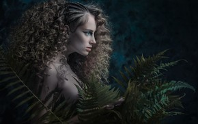 Picture look, girl, face, style, background, hair, portrait, makeup, profile, hairstyle, fern, curls, fern leaves, Aurimas …