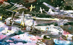 Picture Superfortress, USAF, B-29, WWII, Heavy bomber, Bombs