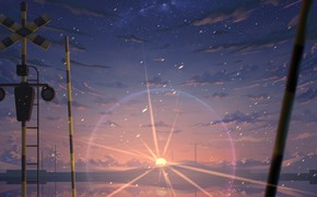 Picture the sky, the sun, snow, sunset, mountains, railway crossing