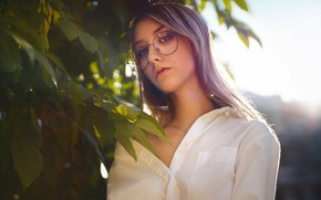 Picture girl, glasses, shirt, Christina, Alexander Drobkov