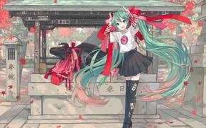Picture girl, Hatsune Miku, Vocaloid, Vocaloid, bull, Hatsune Miku