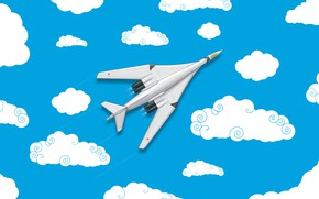 Picture Clouds, Minimalism, The plane, Fighter, Russia, Art, The view from the top, White Swan, Tu …