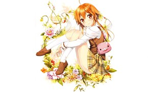 Picture white background, handbag, knee, treble clef, wild flowers, redhead girl, by kantoku, skirt in the …