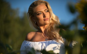 Picture greens, the sky, the sun, nature, pose, portrait, makeup, hairstyle, blonde, blouse, white, beauty, bokeh, …