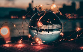 Picture glass, sunset, ball, garland