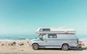 Picture wave, stones, shore, car, CALIFORNIA