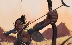 Picture girl, fantasy, digital art, bow, artwork, warrior, fantasy art, archer, Elf, arrow, aiming, fantasy girl, …