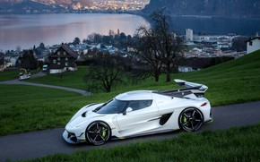 Picture water, mountains, home, Koenigsegg, hypercar, Jesko