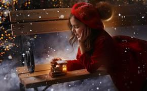 Picture snow, bench, mood, toy, girl, train, coat, takes, Любовь Пятовская