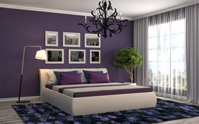 Picture art, realism, room, bed, paintings