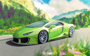 Picture Auto, Lamborghini, Green, Machine, Supercar, Rendering, Sports car, Huracan, Lamborghini Huracan, Transport & Vehicles, Redz …