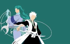 Picture sword, chain, two, Bleach, Bleach, Toshiro Hitsugaya, zanpakutō, ice dragon, minimalism