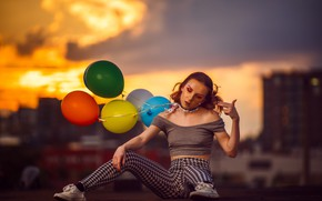 Picture girl, mood, balls