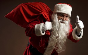 Picture look, red, face, background, holiday, new year, hand, Christmas, glasses, finger, costume, Santa, the old …