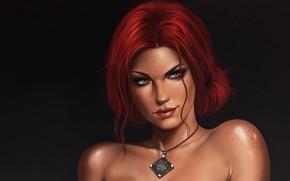 Wallpaper girl, pendant, red, girl, the enchantress, Triss Merigold, Triss Merigold