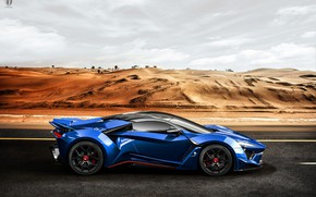 Picture Sand, Auto, Blue, Dunes, Rendering, Supercar, Concept Art, Sports car, Side view, SuperSport, Transport & …