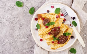Picture berries, chocolate, Breakfast, pancakes, Timolina