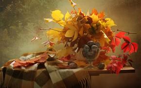 Picture leaves, branches, berries, scarf, fruit, still life, plum, table, vase, ramekin, Kovaleva Svetlana