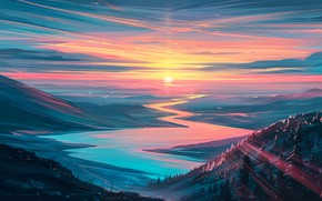 Picture forest, river, sky, trees, landscape, nature, sunset, art, mountains, stars, birds, sun, digital art, artwork, …