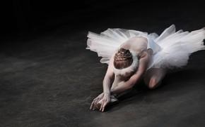 Picture girl, pose, the dark background, back, dance, hands, dress, hairstyle, floor, fingers, ballerina, sitting, art, …