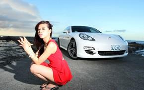 Picture look, Girls, Asian, beautiful girl, Porsche Panamera, white car, against the machine