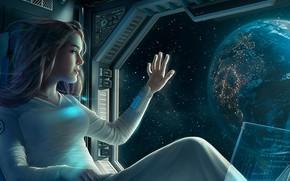 Picture space, girl, fantasy, Earth, computer, science fiction, stars, sci-fi, planet, artwork, fantasy art, illustration, futuristic, …