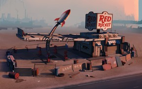 Picture Fallout, Architecture, Gas Station, Post-apocalyptic, Environments, Red Rocket, by Edgaras Cernikas, Red Rocket Gas Station, ...